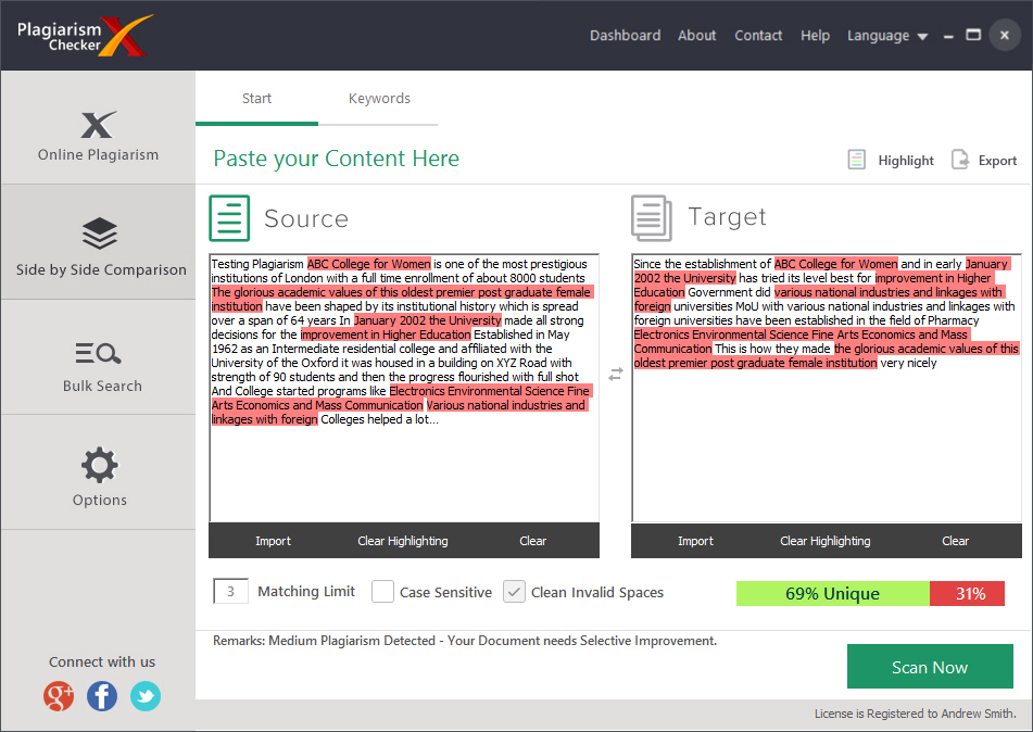 Writing and Journaling Software, Plagiarism Checker X Screenshot