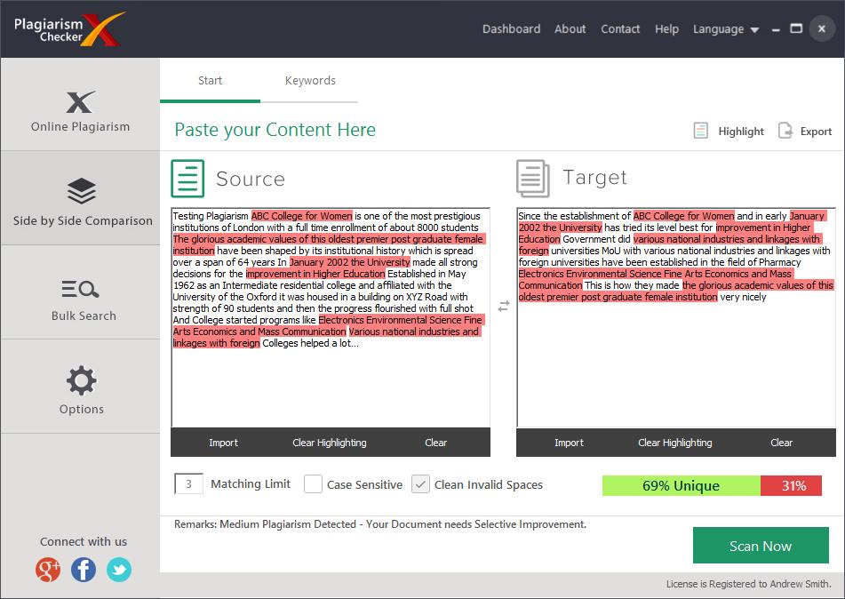 Writing and Journaling Software, Plagiarism Checker X Screenshot
