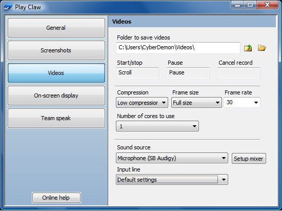 PlayClaw, Video Capture Software Screenshot