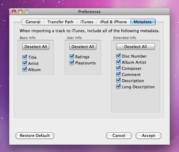 Pod to Mac, Audio Software Screenshot