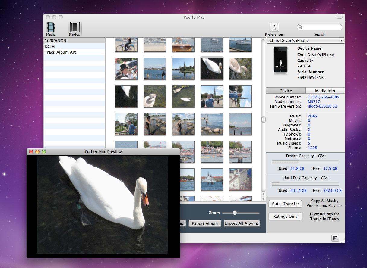 Pod to Mac, iPod iPhone iTunes Software Screenshot