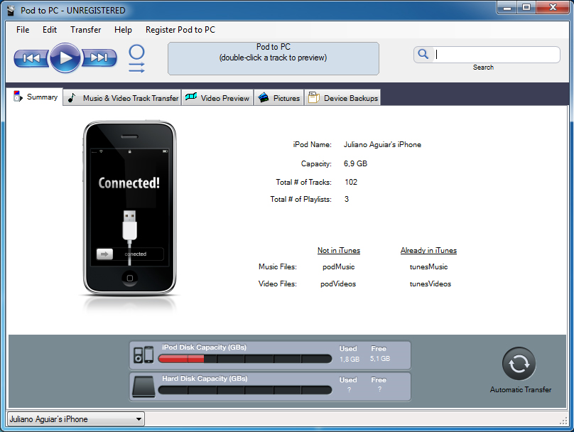Pod to PC, iPod iPhone iTunes Software Screenshot