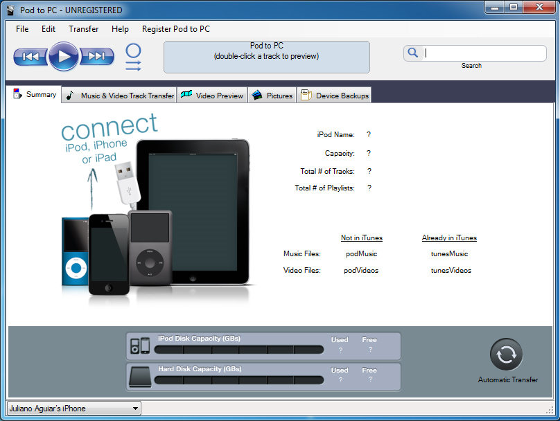 Pod to PC - iPod iPhone iTunes Software Download for PC