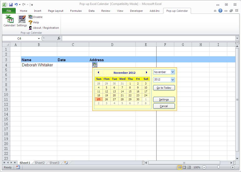 Pop-up Excel Calendar Screenshot