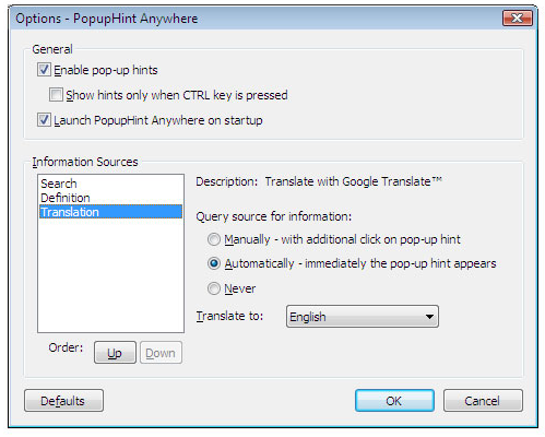 Internet Software, PopupHint Anywhere Screenshot