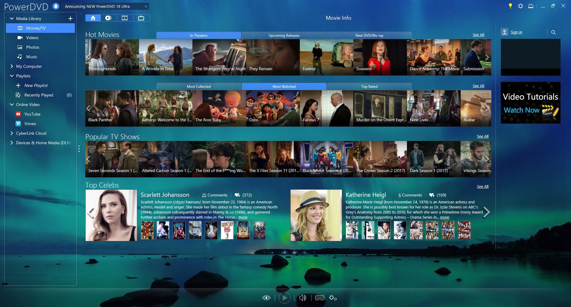 PowerDVD Ultra, Video Software Screenshot
