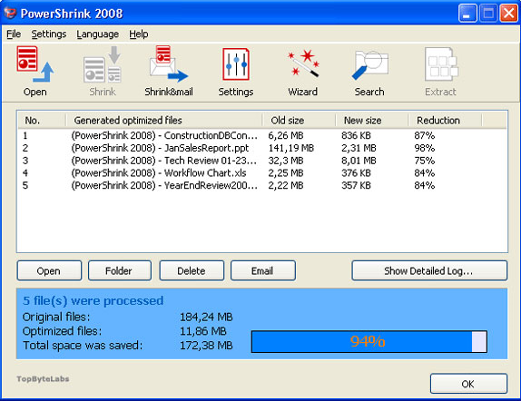 PowerShrink, Compression and Extraction Software Screenshot