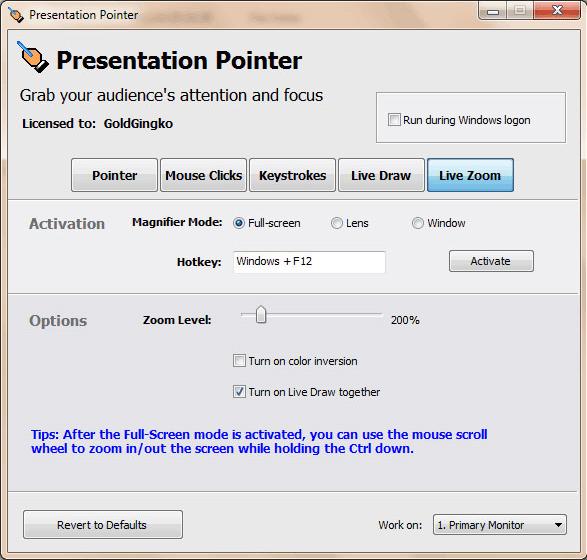 Presentation Pointer, Presentation Software Screenshot