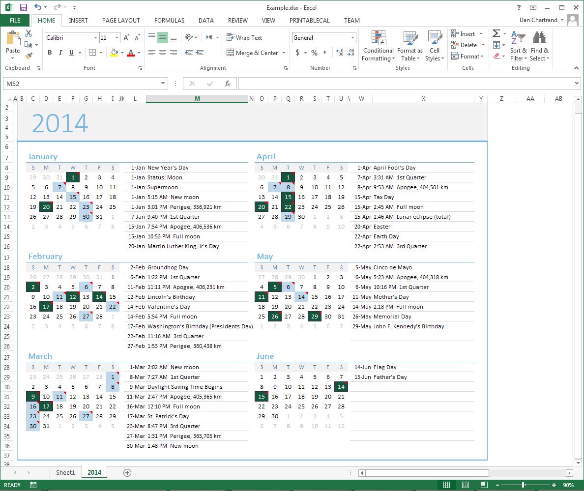 Business & Finance Software, PrintableCal Basic Screenshot