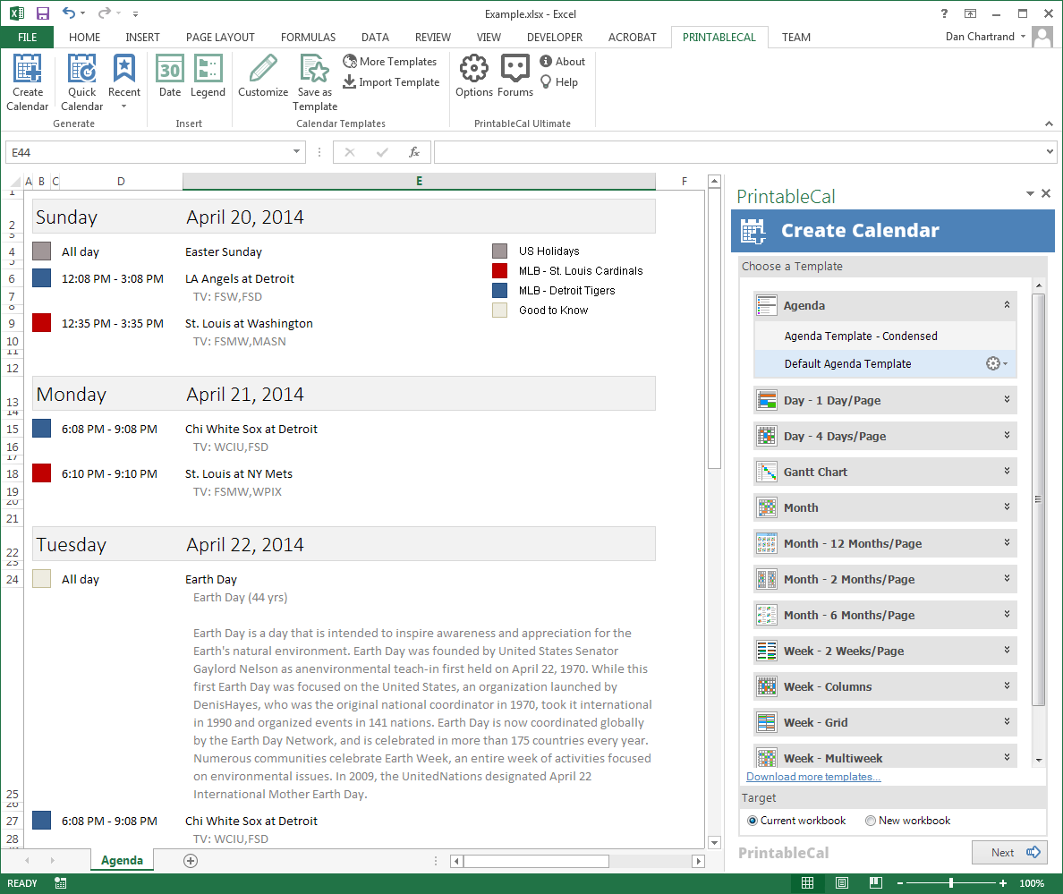 PrintableCal Basic, Business & Finance Software, Excel Add-ins Software Screenshot