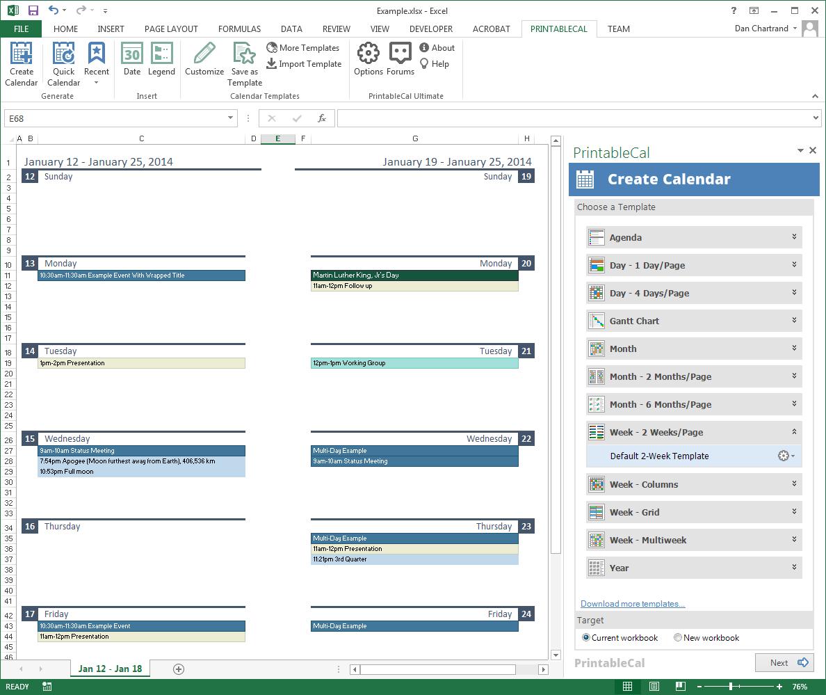 PrintableCal Basic, Business & Finance Software Screenshot