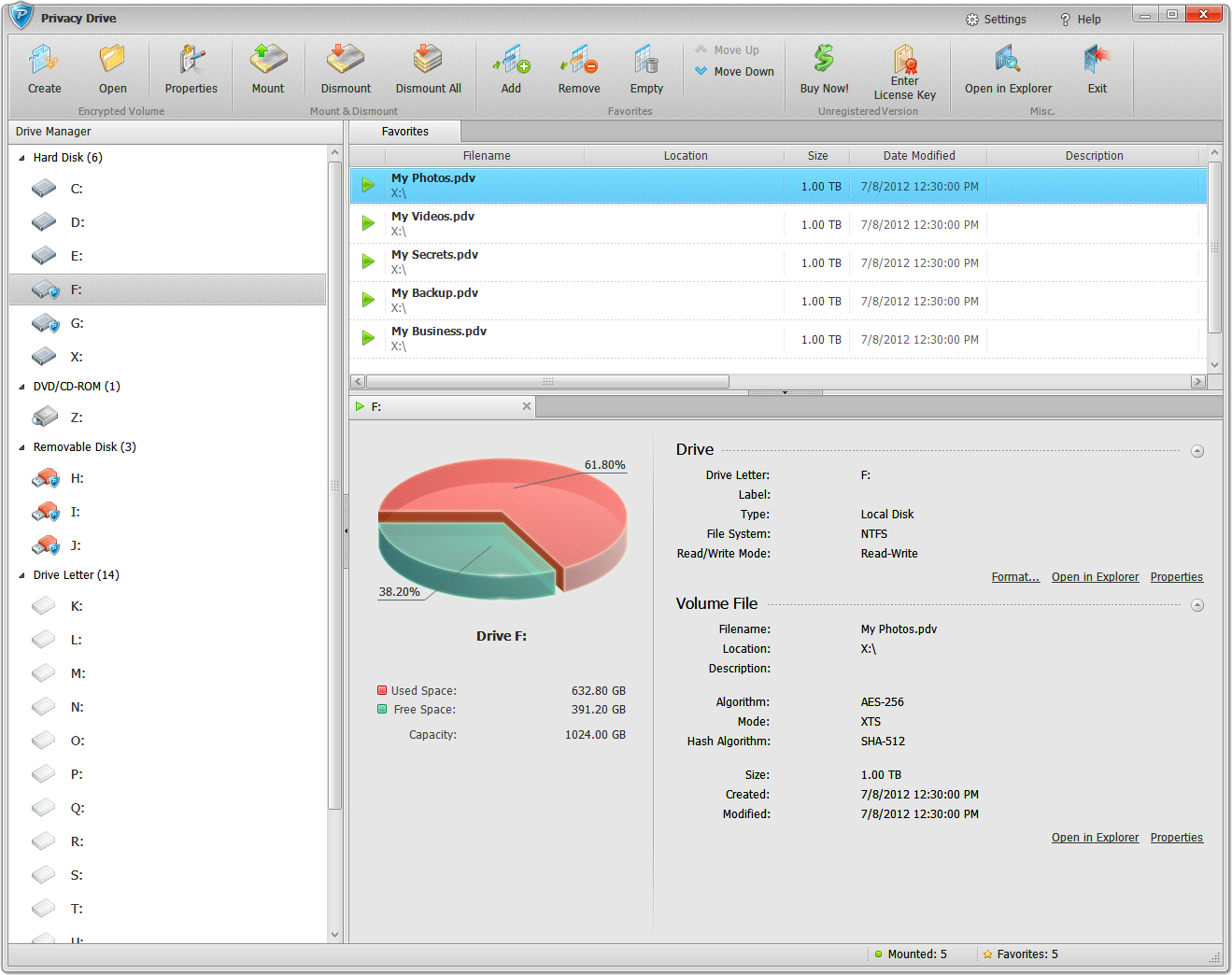Privacy Drive, Security Software Screenshot