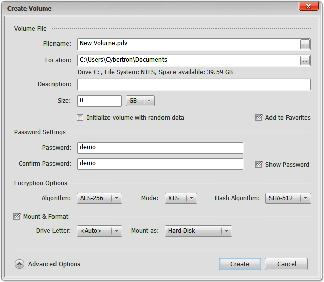 Privacy Drive, Security Software, Access Restriction Software Screenshot