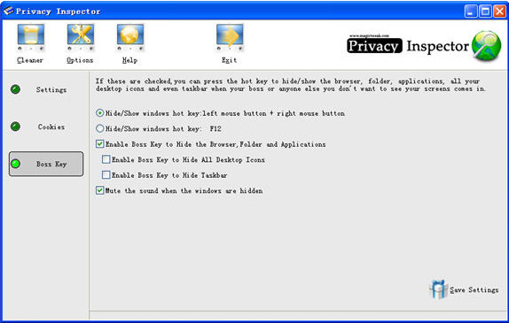 Privacy Software, Privacy Inspector Screenshot