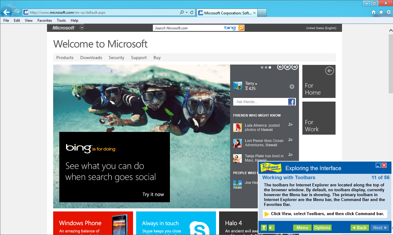 Professor Teaches Internet Explorer 10 Screenshot