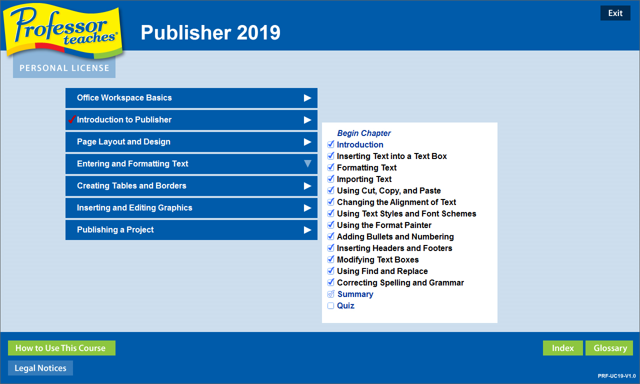 Learning and Courses Software, Professor Teaches Office 2019 Tutorial Set Downloads Screenshot