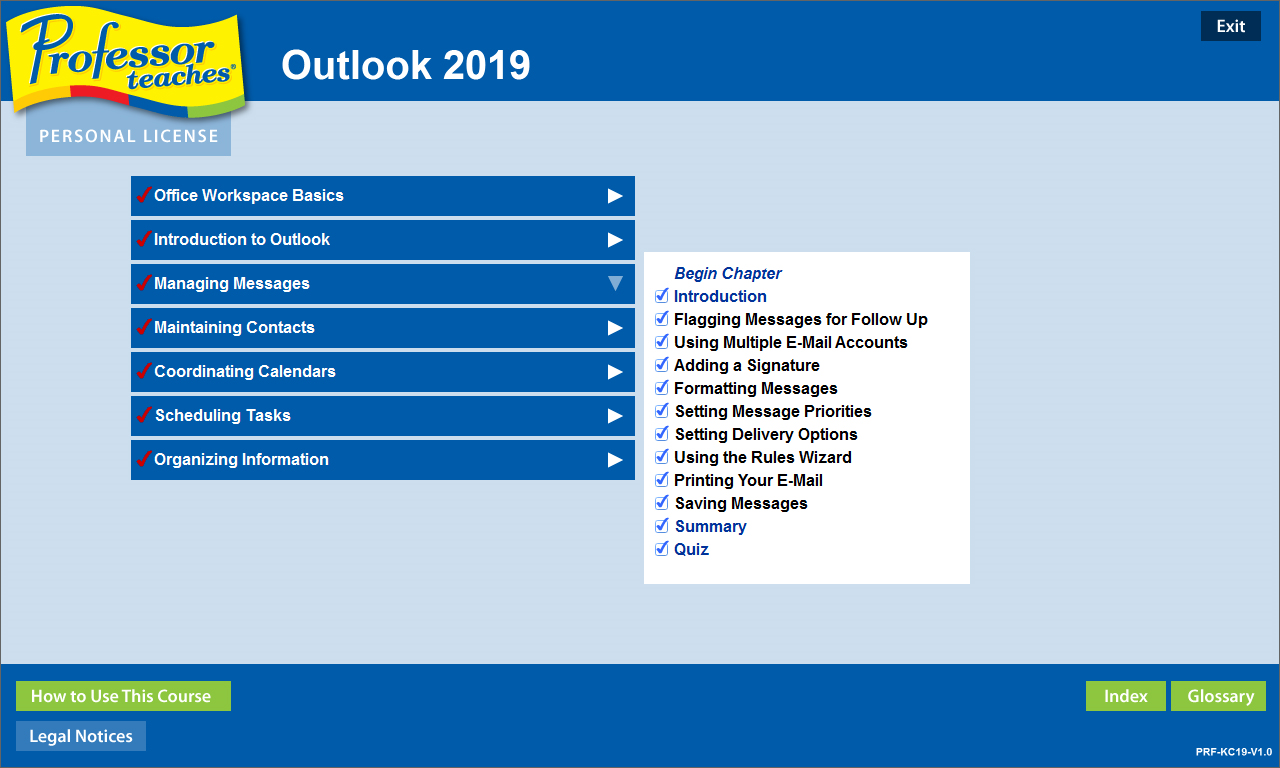 Professor Teaches Outlook 2019 Screenshot