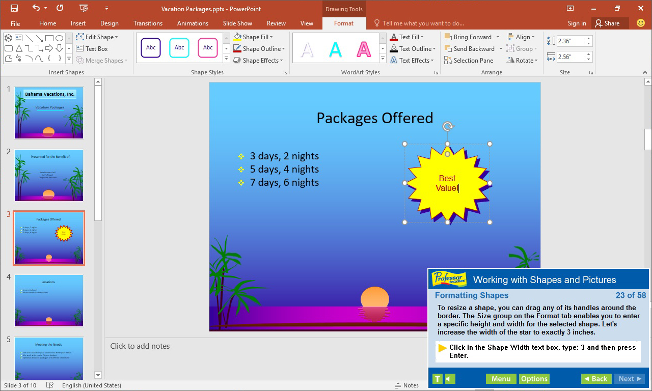 Professor Teaches PowerPoint 2019, Hobby, Educational & Fun Software Screenshot