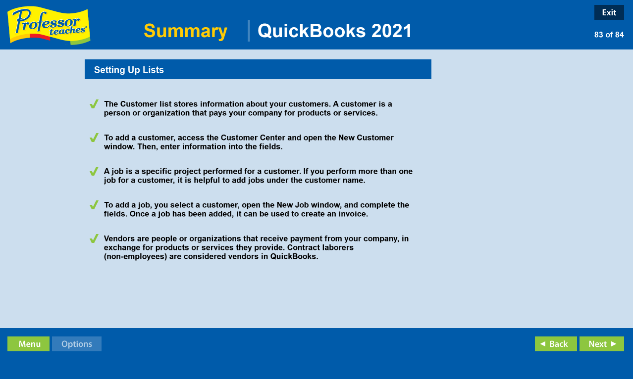 Professor Teaches QuickBooks 2021, Hobby, Educational & Fun Software Screenshot