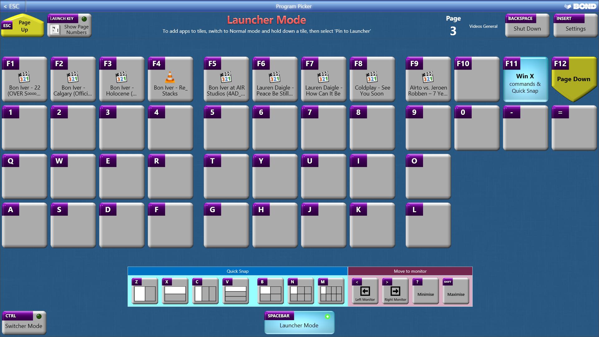 Program Picker, Desktop Customization Software, App Launcher Software Screenshot