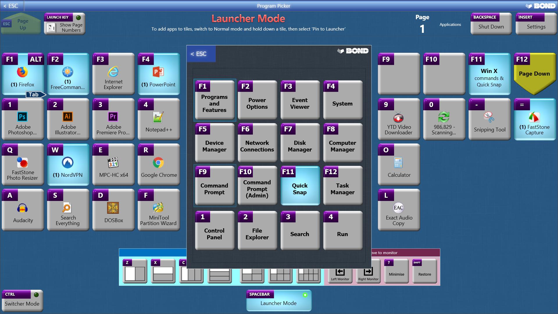 App Launcher Software, Program Picker Screenshot