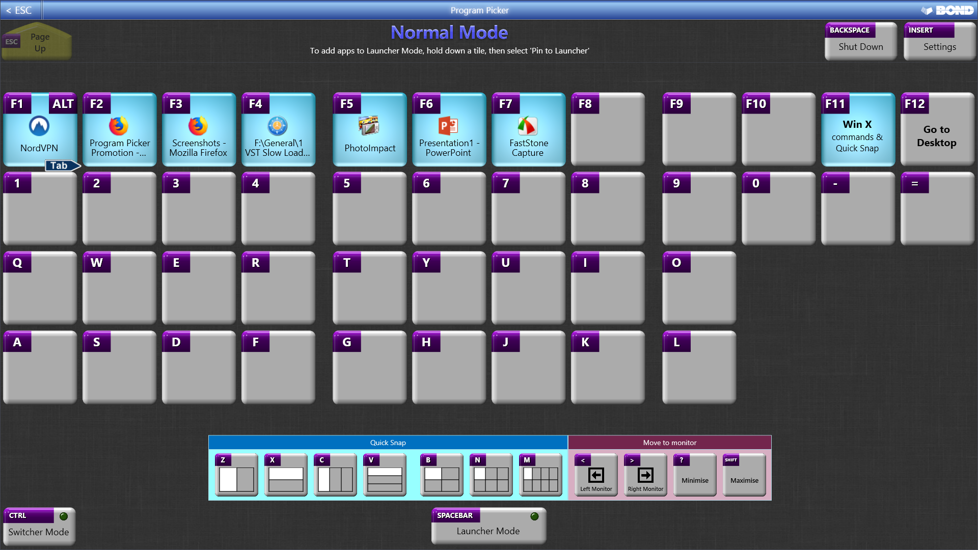 Program Picker, Desktop Customization Software Screenshot