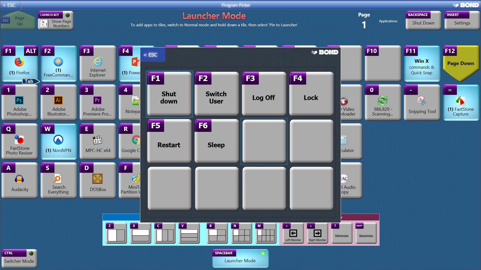 Desktop Customization Software, Program Picker Screenshot