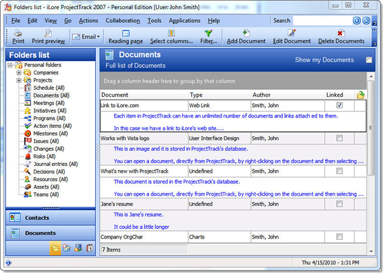 ProjectTrack 2007 - Personal Edition, Project Management Software Screenshot