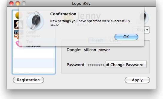 ProteMac LogonKey Screenshot