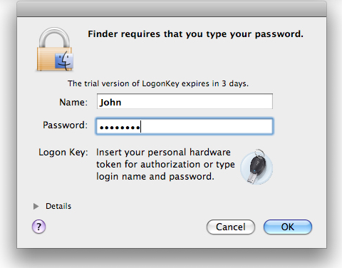 Security Software, ProteMac LogonKey Screenshot