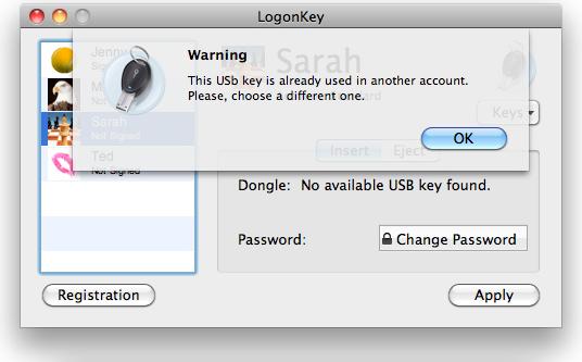 Password Manager Software, ProteMac LogonKey Screenshot