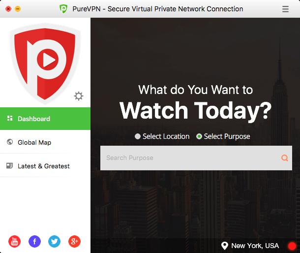 PureVPN, Security Software, Privacy Software Screenshot