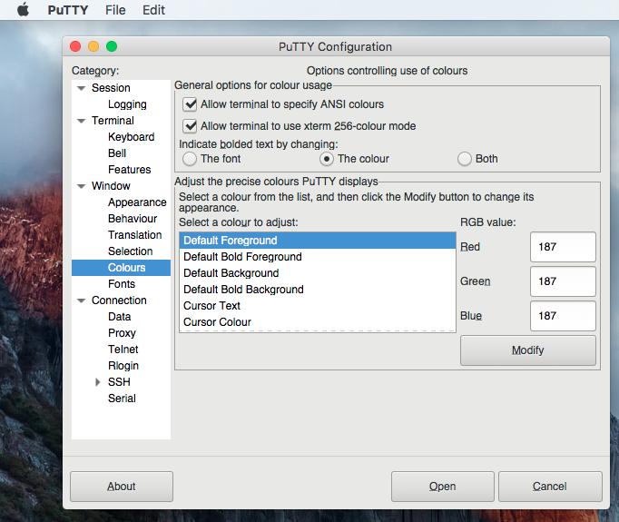 Putty for Mac, File Management Software Screenshot