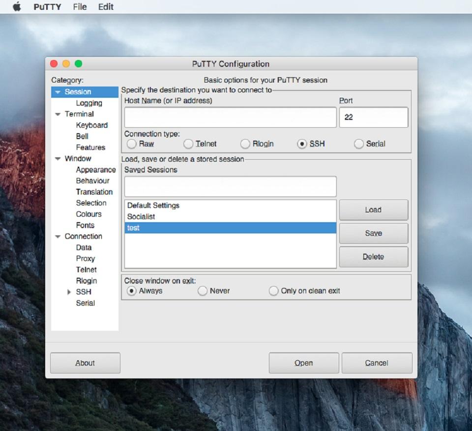 Putty for Mac, Software Utilities Screenshot