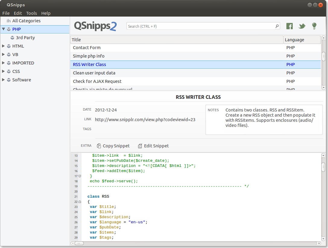 QSnipps Cross-Platform, Development Tools Software Screenshot