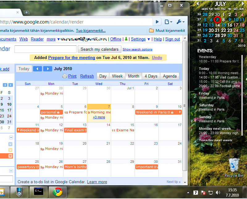 Rainlendar 2 Pro, Productivity Software Screenshot