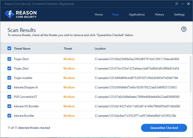 Reason Core Security, Antivirus Software Screenshot
