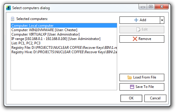 Recover Keys, Recovery Software Screenshot