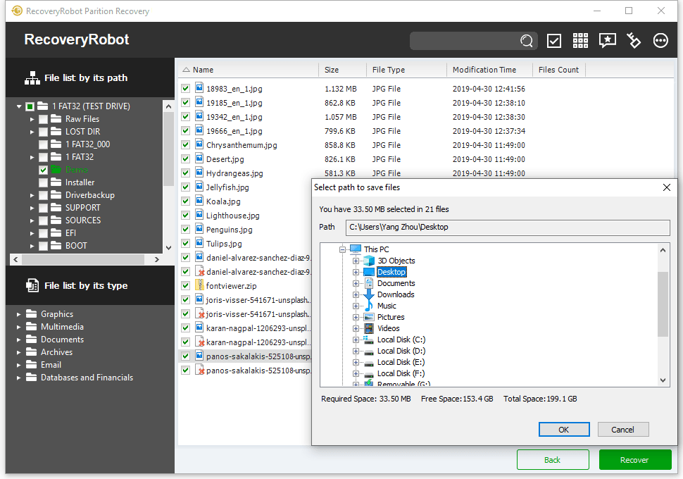 Recovery Software, RecoveryRobot Partition Recovery Screenshot