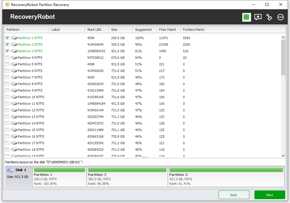 RecoveryRobot Partition Recovery, Recovery Software Screenshot