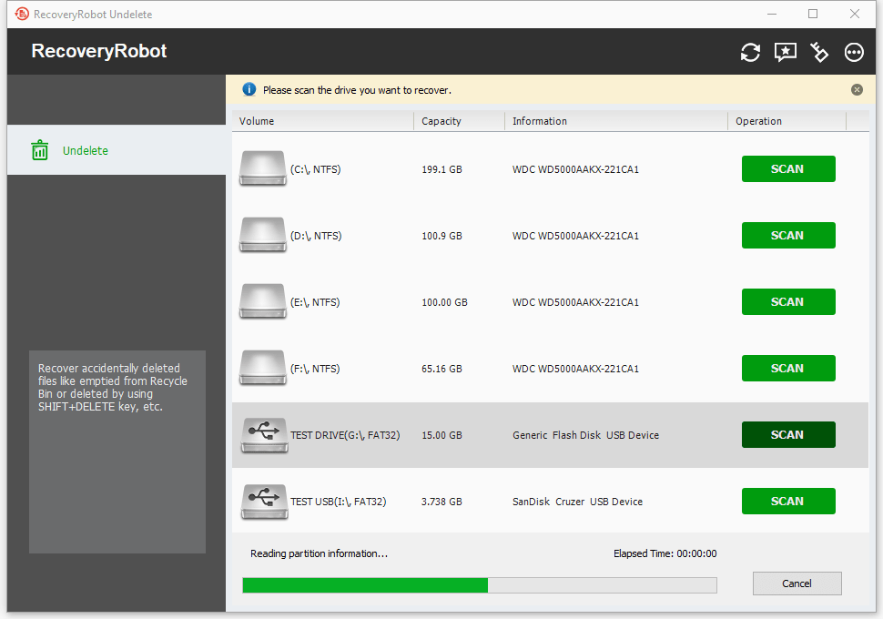 RecoveryRobot Undelete, Recovery Software Screenshot