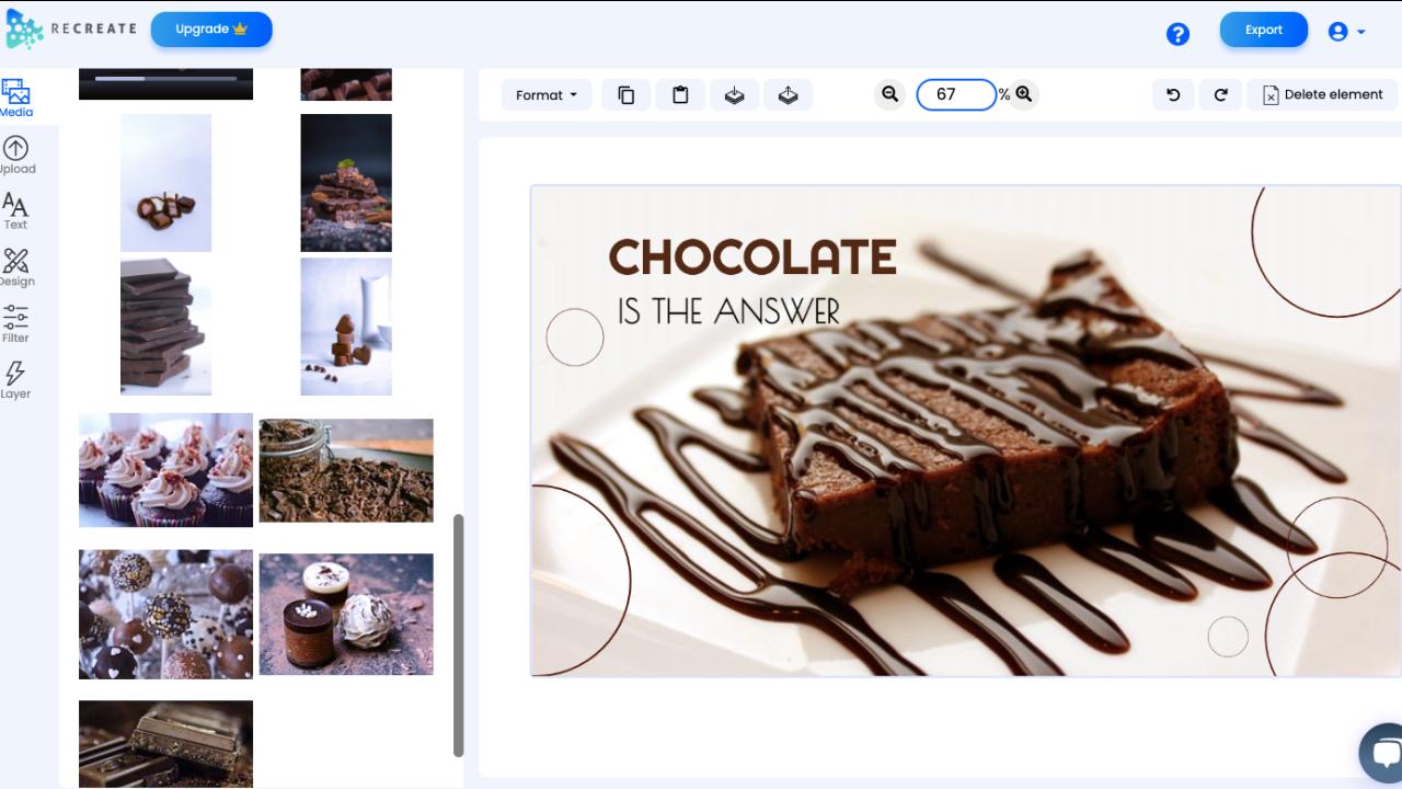 Recreate, Video Editing Software Screenshot