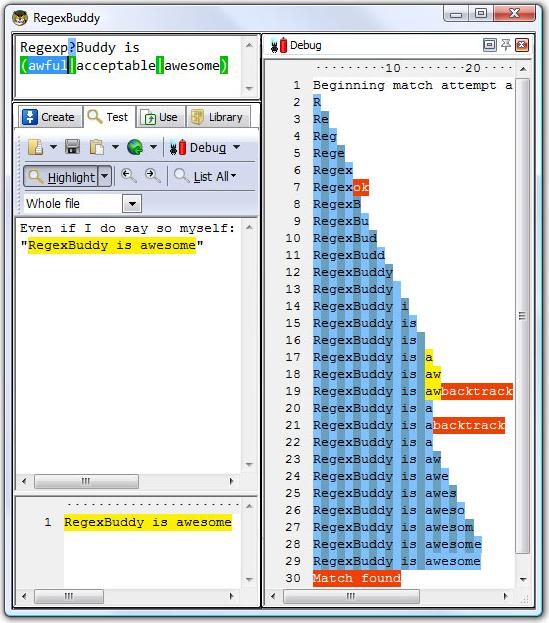 RegexBuddy, Development Software Screenshot