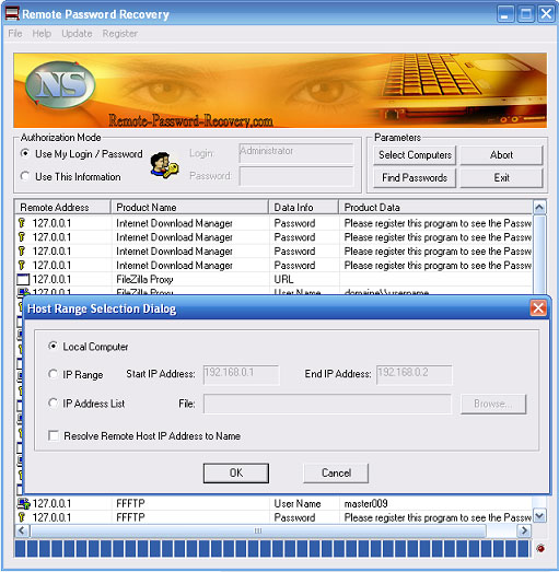 Remote Password Recovery Screenshot