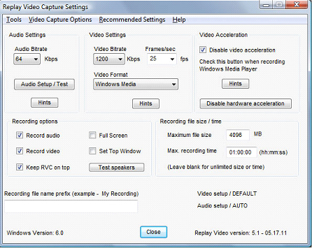 Replay Video Capture, Video Capture Software Screenshot
