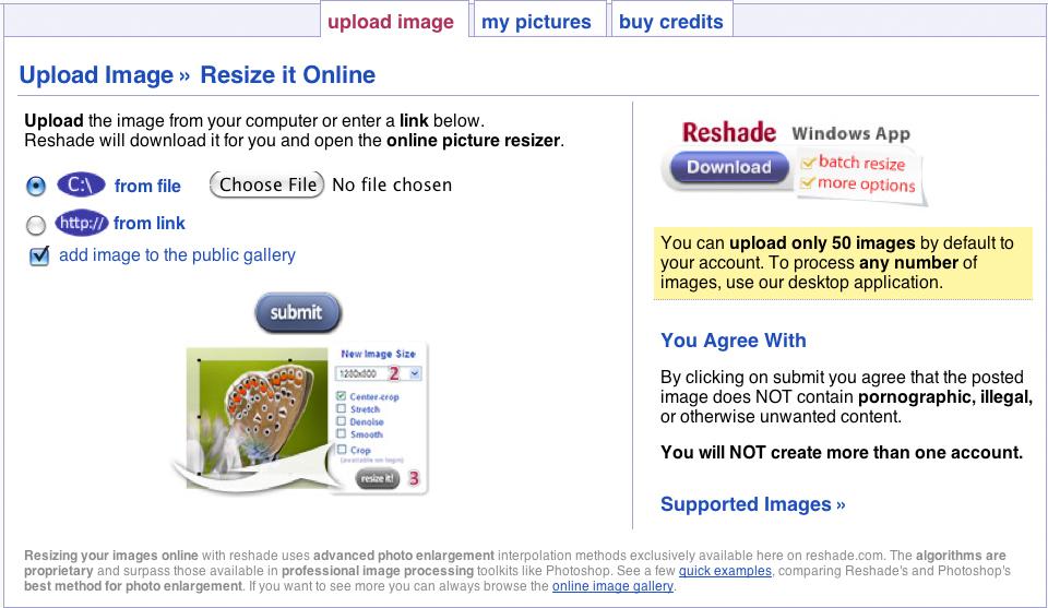 Reshade Online Image Resizer 100 Credits Screenshot