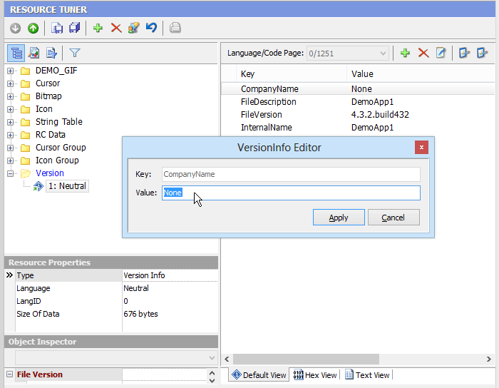 Resource Tuner, Development Software Screenshot