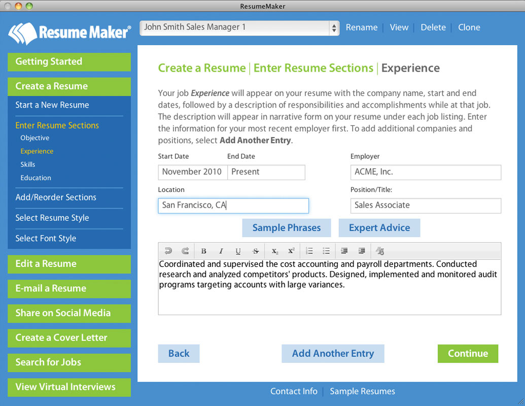 Resume Maker for Mac Screenshot