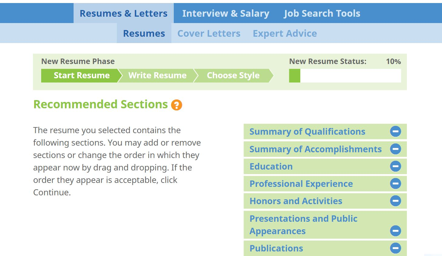 Job Search & Business Card Software, ResumeMakerPro Web - Annual Subscription Screenshot