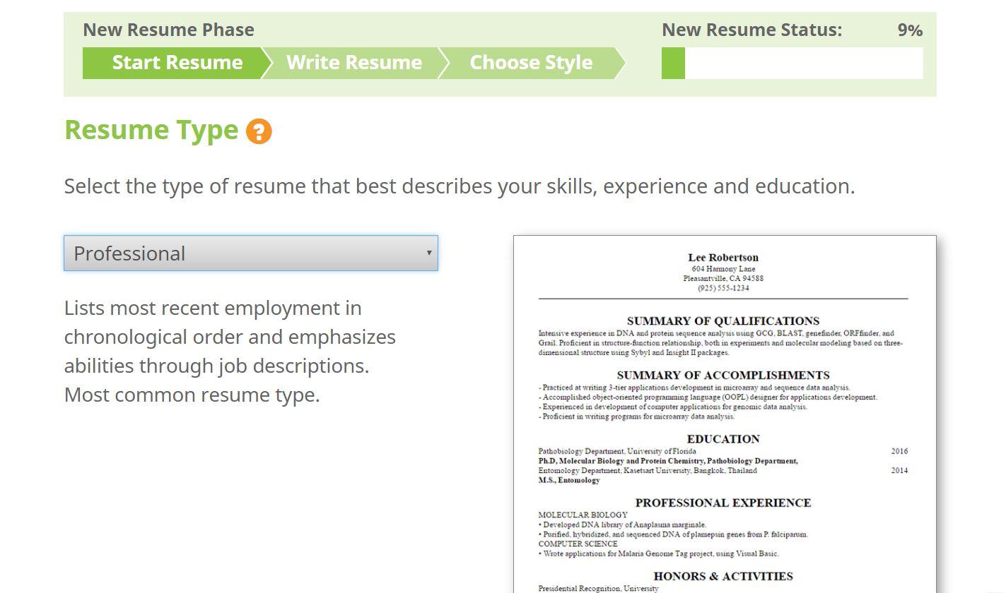 Productivity Software, ResumeMakerPro Web - Annual Subscription Screenshot